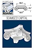 Scamozzi Capital for Hollow Columns - XL Size - Composite Resin - Unfinished - Paint Ready - Load Bearing - Dimensions In Images/Details