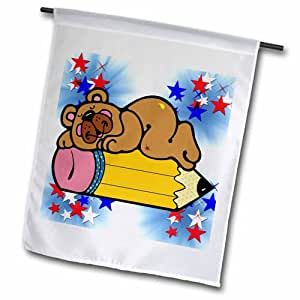 3dRose fl_202527_1 Cute Country Bear Laying on Pencil Garden Flag, 12 by 18""