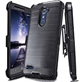 J.west ZTE ZMax Pro Case,ZTE Grand X Max 2 Case, Luxury Heavy Duty Full-Body Rugged Holster Armor Case with [Belt Clip][Kickstand] for ZTE ZMax Pro/Carry Z981 Without Built-in Screen Protector, Black