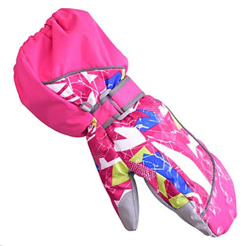 BeBeFun kids and Toddler Baby ski Snowboarding winter youth mittens gloves for boys and girls with 4M thinsulate and velcro strap Pink (Mitten Ski Youth)