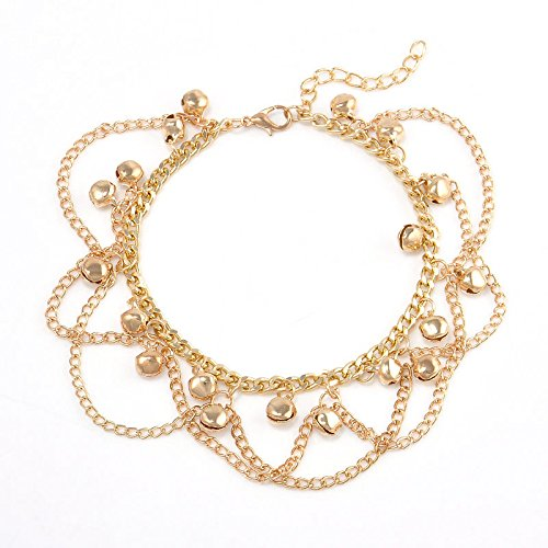 Unique Women 14K Gold Filled Two-layer Charm Bell Chain Anklet Bracelet Gift