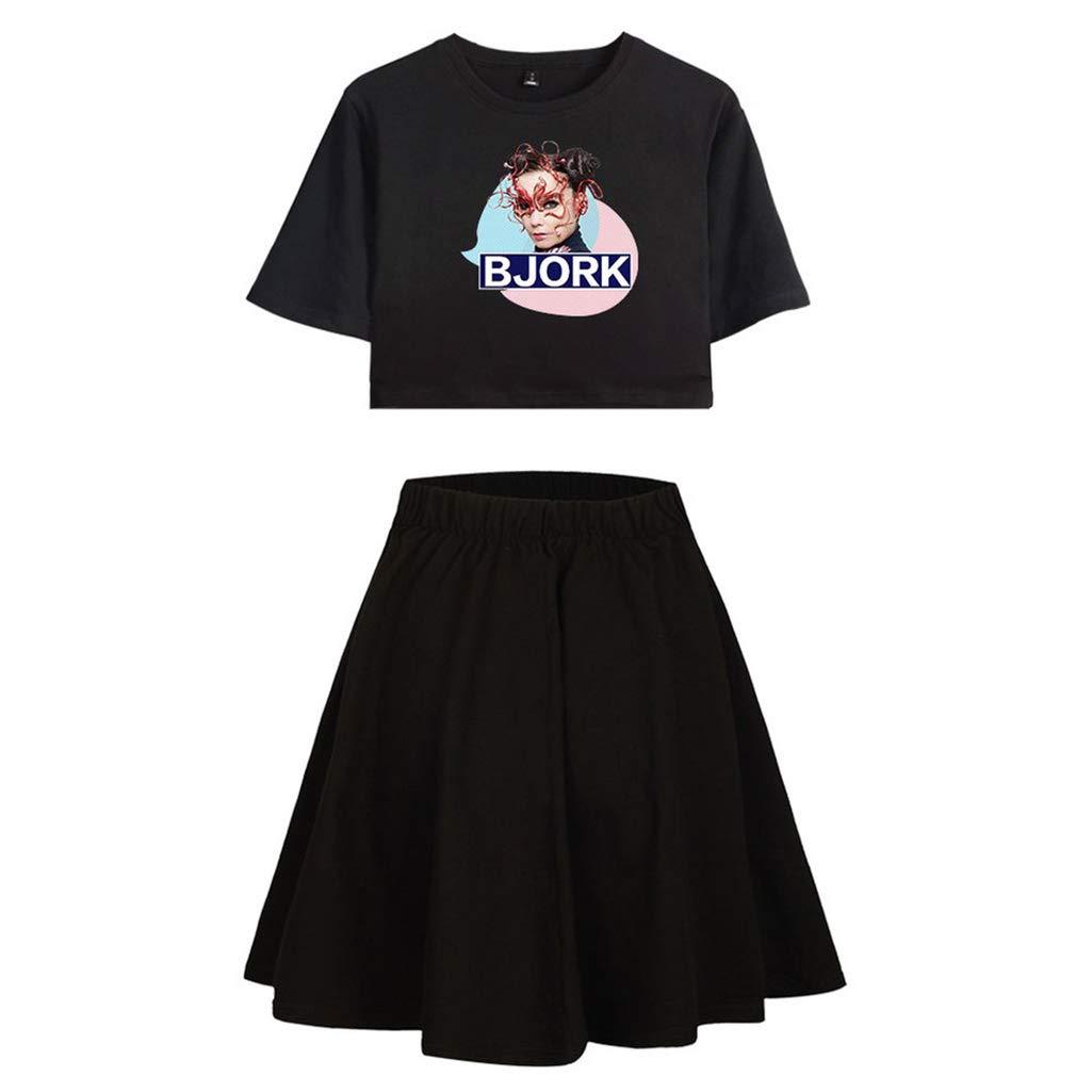 YUECHU Bjork Stampato Magliette da Donna a Maniche Corte in Due Pezzi Set di gonne per Donna
