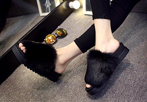 37 37 COFCO décoratifs 38 Femme Pantoufles Thick Black 1 Home décontracté Soled Black Pantoufle P6wvAqP