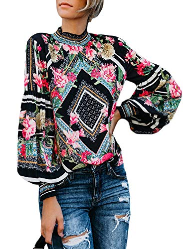 (Happy Sailed Women Floral Print Turtleneck Long Sleeve Casual Blouse Tops S-2XL (Small, Black-T01))