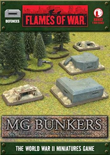 Flames Of War Defences Mg Bunkers (late War, 2 Mg Pillboxes & 2 Mg Nests) ()