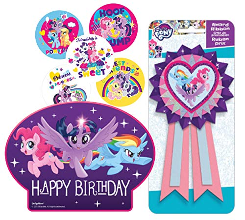 My Little Pony Birthday Cake Candle Set & Birthday Party Confetti Filled Ribbon for Guest of Honor! Plus MLP Party Favor Stickers! -