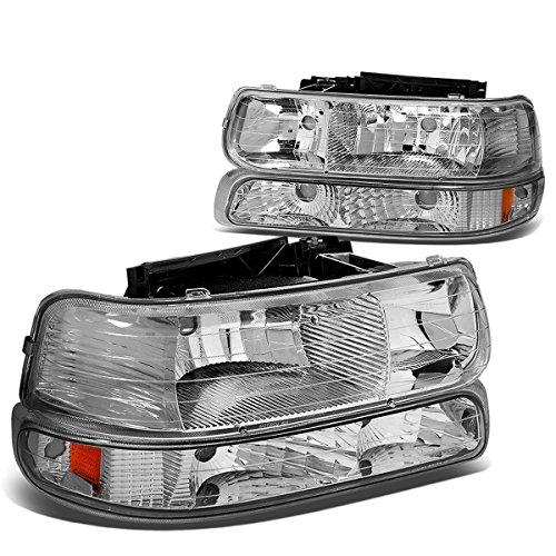 - Chrome Housing Amber Corner Headlight+Bumper Light Lamp for Chevy Silverado Suburban Tahoe 99-02