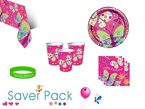 Butterfly Sparkle tableware saver pack for 8, 16, 24 or 32 guests - comes with FREE It's My Birthday wristband (8 Guests) by Parties Wrapped Up