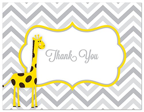 50 Cnt Yellow Giraffes Grey Chevron Baby Shower Thank You Cards