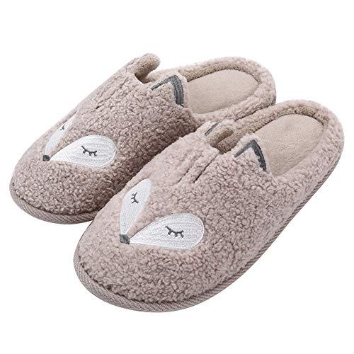 Womens Cute Animal Slippers Soft Fleece Plush Home Slippers Slip On Memory Foam Cotton Clog House Slippers, Beige, US Women 8-9.5 / Men 7.5-9