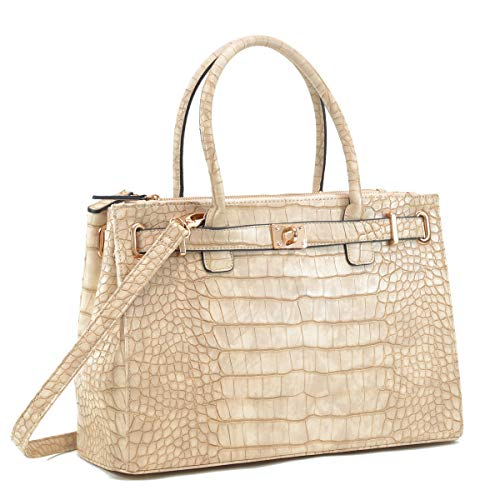 Women Fashion Purses and Handbags Large Tote Bag Shoulder Bag Top Handle Satchel Purse Hobo for Ladies (01 Croco Leather- Stone)