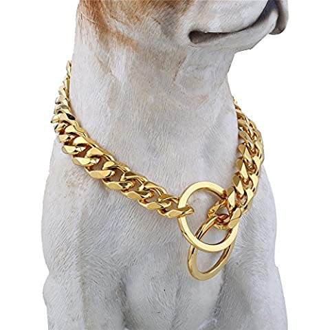 Gold Tone Dog Collar, 10mm Wide Metal Slip Chain - Cool + Best for Large Dogs: Pitbull, Doberman, Bulldog, Rottweiler & more! (24 (Gold Chain For Dog)