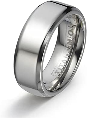 Jewel Tie 10k White Gold 8mm Flat with Step Edge Wedding Band