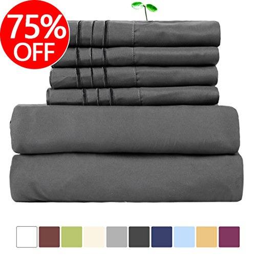EASELAND 6-Pieces 1800 Thread Count Microfiber Bed sheet Set-Wrinkle & Fade Resistant,Deep Pocket,Hypoallergenic Bedding set,Queen,Dark Grey✅