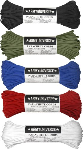 Army Universe Nylon Military Paracord 550lbs Cord Rope Value Pack - 5 Colors - 100 Feet Each Paracord! by Army Universe