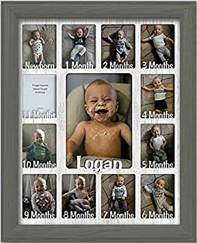 Customizable with Any Name Navy Frame Northland Baby First Year Personalized Frame Holds Twelve 2.5 x 3.5 Newborn Nursery Decor Photos and 5 x 7 One Year Picture Aqua Mat