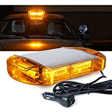 Xprite 40 LED High Intensity Law Enforcement Emergency Hazard Warning Flashing Car Truck Construction LED Top Roof Mini Bar Strobe Light with Magnetic Base, Amber/Yellow