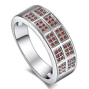 Narica Women's Simple Garnet CZ Eternity Wedding Ring Band