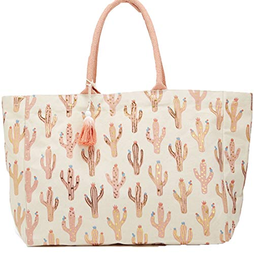 Looking Sharp Cactus Pattern Tote Bag with Metallic Print and Tassels (Pink)