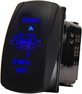 ESUPPORT Car 12V 20A Momentary Laser Light Button Rocker Toggle Switch Blue LED Winch In Out ON-OFF-ON 7Pin