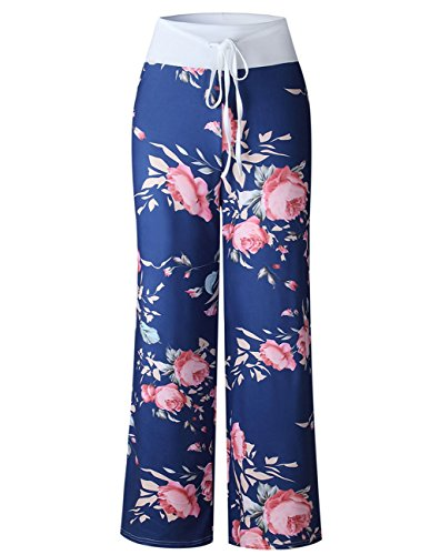 Buauty Womens Cotton Lounge Pants Summer Boho Printed Pajama Yoga Palazzo Loose Sweatpants S-3XL