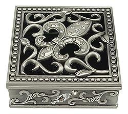"""Fei Gifts Fleur De Lis Trinket Box, Pewter Silver, 2.5"""" x 2.5"""" x 1"""""""