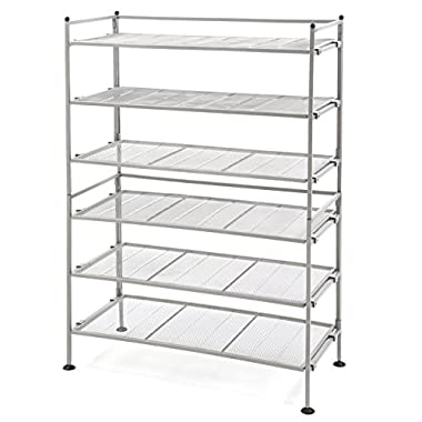 Seville Classics 3-Tier Iron Shoe Utility Rack, Satin Pewter, 2-Pack