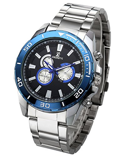 ion Casual Analog Quartz Sports Watch Silver Tone Big Face Waterproof Rotating Top Ring Samll Dial Decorated Stainless Steel Band(White Dial Blue Bezel) (Analog Blue Dial Watch)