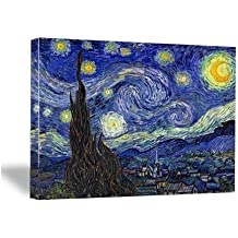 Wieco Art - Extra Large Starry Night by Van Gogh Classical Famous Artwork Modern Canvas Prints Blue Abstract Landscape Pictures Paintings on Canvas Wall Art for Living Room Bedroom Home Decorations