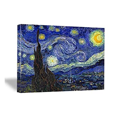 Wieco Art Canvas Prints of Van Gogh Oil Paintings Starry Night Abstract Wall Picture for Home Decor