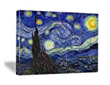 Wieco Art Extra Large Starry Night by Van Gogh Classical Famous Artwork Modern Canvas Prints Blue Abstract Landscape Pictures Paintings on Canvas Wall Art for Living Room Bedroom Home Decorations
