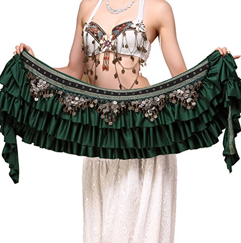 ZLTdream Women's Belly Dance Retro Tribal Hip Scarf with Copper Coins ()