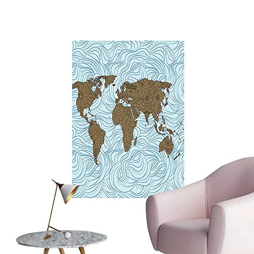 Wall Decoration Wall Stickers Wavy Ocean Lin and Themed tinent ful Image Cocoa Light Blue Print Artwork,16