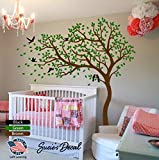 Susie's Decal Brown Tree Wall Decal Sticker Green Leaves Black Bird Peel and Stick Simple Nursery Decor Cherry Blossom Flying Birds Tree 81' x 84' (LxH) -DIY Easy to Install and Apply (Left Leaning)