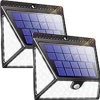 Luposwiten 82 LED Focos Solar Exterior,1640LM Luz Solares, 270°Gran Angular Luces Solares IP65 Impermeable para Jardín, Patio,Garaje, Terraza, Caminos, Escalera Lámparas Solares Exterior (2 Piezas)