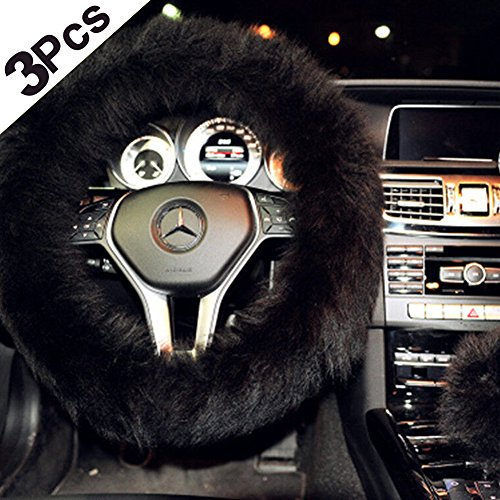 Sino Banyan Steering Wheel Cover,3 Pcs,Australian Wool,14.96