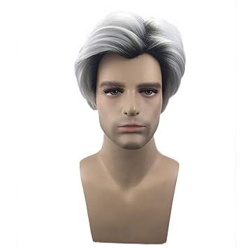 Wig Herrenperucke 28cm Schwarz Grau Gradient Kurzes Haar Der Manner