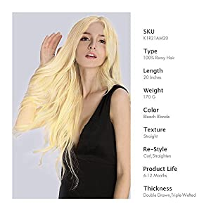 KINGHAIR Bleach Blonde(#613) Clip In Remy Hair Extensions - 20 Inches - 170G Full Head Set