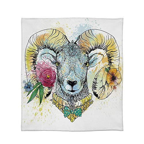- ALUONI Comfort Blanket,Quirky Decor,for Sofa Travel Couch,Size Throw/Twin/Queen/King,Ram Head with Horns and Blossoming Spring