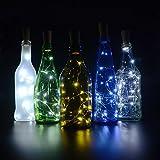 Cork Lights for Wine Bottles 6 Pack, Bizoerade 30inch/ 75cm 15 LED Copper Wire Lights String Starry LED Lights for Bottle DIY, Party, Decor, Christmas, Halloween, Wedding or Mood Lights - White