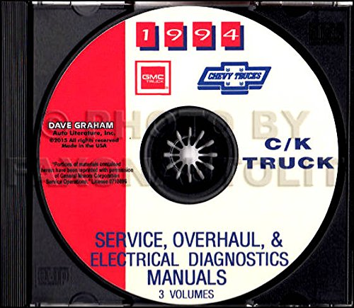 FULLY ILLUSTRATED 1994 CHEVROLET TRUCK & PICKUP FACTORY REPAIR SHOP & SERVICE MANUAL CD Includes C/K Trucks, Silverado, Cheyenne, Suburban, Blazer, Regular, Crew & Extended Cab 1500, 2500, 3500