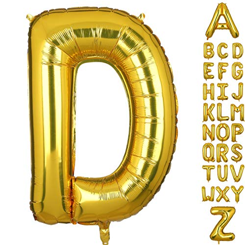 40 Inch Large Gold Letter D Foil Balloons Hellium Golden Big Alphabet Mylar Balloon for Birthday Party Decoration Custom Word (Gold Foil Words)