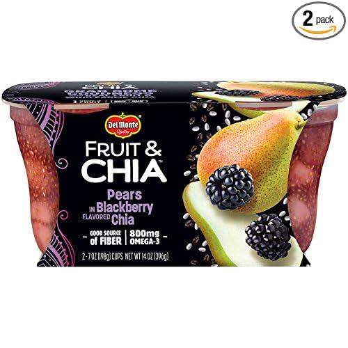 Del Monte Fruit & Chia Snack Cups, Peras en Blackberry sabor ...