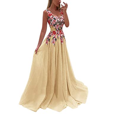Amazon Com Behkiuoda Women Lace Long Dress Applique Elegant Dresses