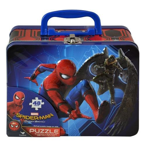 (Spiderman Homecoming Lunch Tin Box with 48pc puzzle inside)