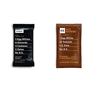 RXBAR, Chocolate Sea Salt, Protein Bar, 1.83 Ounce (Pack of 12), High Protein Snack, Gluten Free & RX Nut Butter, Chocolate Peanut Butter, 1.13oz, 10 Count, Keto Snack, Gluten Free