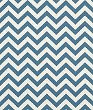 Premier Prints Zig Zag Denim/Natural Fabric - by the Yard