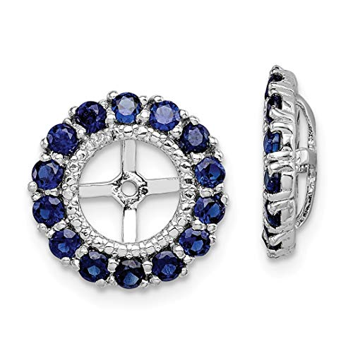 - 925 Sterling Silver Diamond Created Sapphire Earrings Jacket Birthstone September Fine Jewelry For Women Gift Set