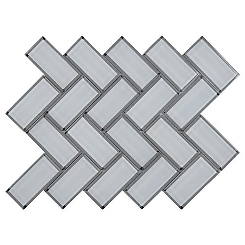 2' Glass Mosaic Tile - White Glass Mirror Beveled Herringbone 2'' x 4'' Tile Kitchen Backsplash Idea Bath Shower Wall Mosaics