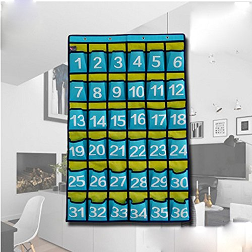 Lecent@ Numbered Classroom Pocket Chart for Cell Phones Business Cards 36 Pockets Wall Door Closet Mobile Hanging Storage (Calculator Pocket Storage)